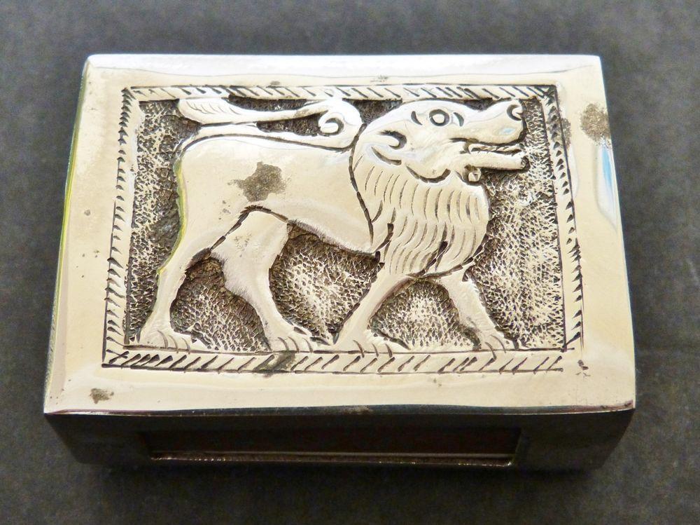 Vintage INDIAN Engraved SOLID SILVER Repousse ELEPHANT LION MATCHBOX Holder CASE