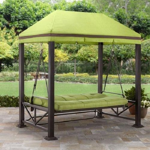 3 Person Swing Outdoor Patio Sturdy 3 1 8 Steel Posts With Hidden Anchor System Outdoor Patio Swing Patio Gazebo Patio Swing Canopy