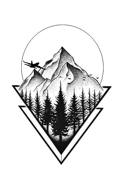 Tatuaje Geometric Mountain Tattoo Mountain Tattoo Geometric Tattoo