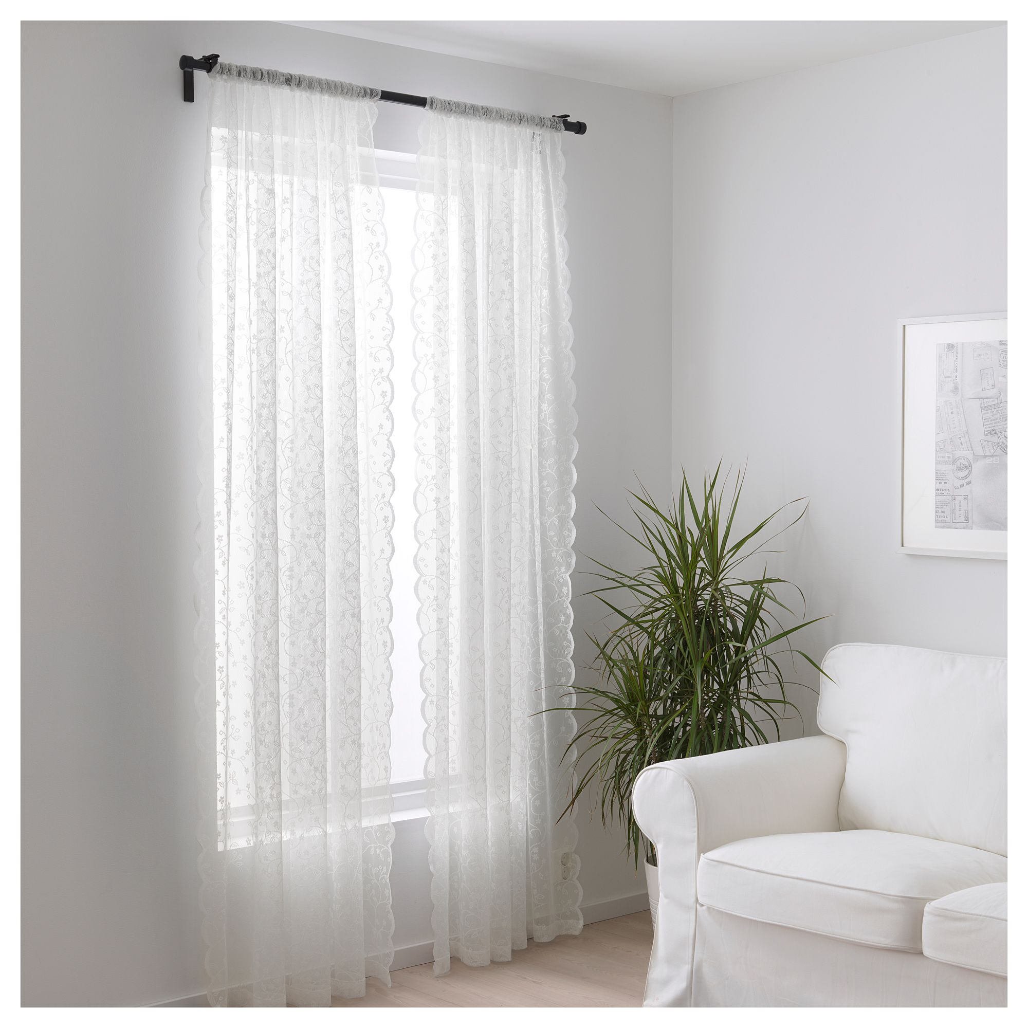 LILLYANA Gardinenstore/Paar weiß, Blume   Vorhänge ...