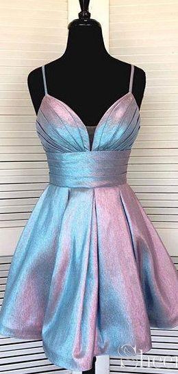 Spaghetti Strap Short Homecoming Dresses V-neck Formal Dress ARD2396