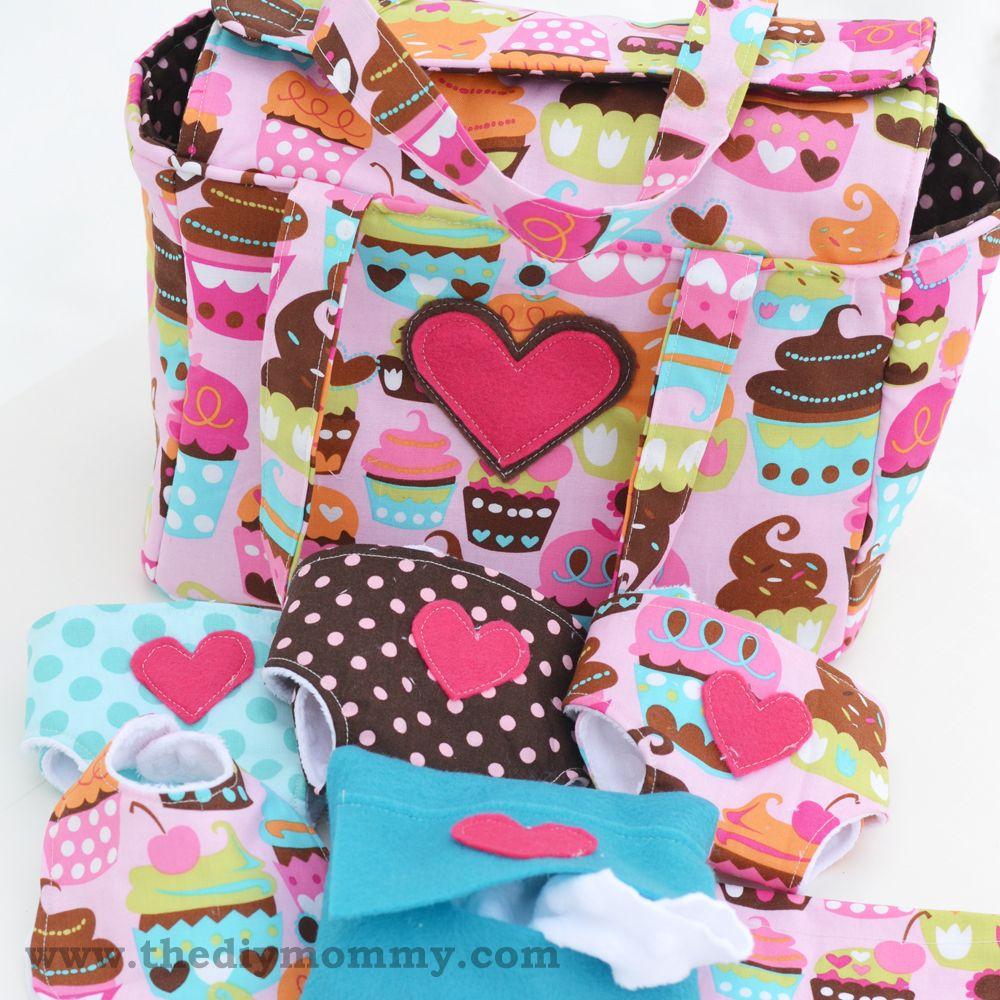 Sew a Deluxe Dolly Diaper Bag & Accessories (Cloth Diapers, Wipes ...