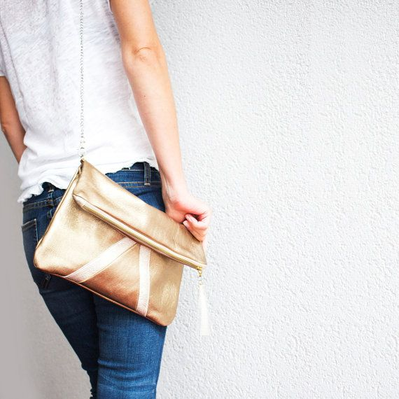 Gold Metallic Leather Clutch Holographic Fold by gmaloudesigns