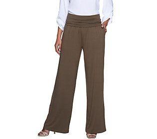 Edge by Jen Rade Regular Knit Wide Leg Pants w/ Foldover Waist