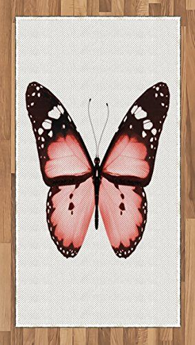 Light Pink Area Rug by Ambesonne, Butterfly Natural Beauty Animal ...