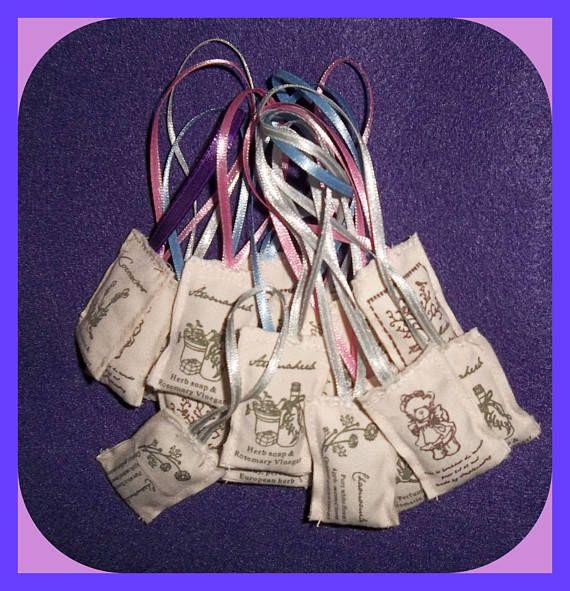 Lavender Filled Spice Ribbon SACHET Bags Set 4