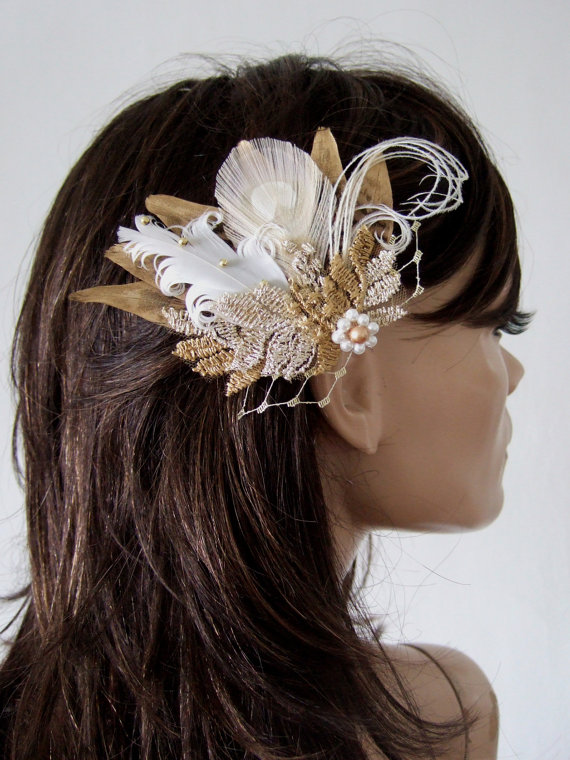 Hey, I found this really awesome Etsy listing at https://www.etsy.com/uk/listing/485863907/bridal-fascinator-gold-white-pheasant