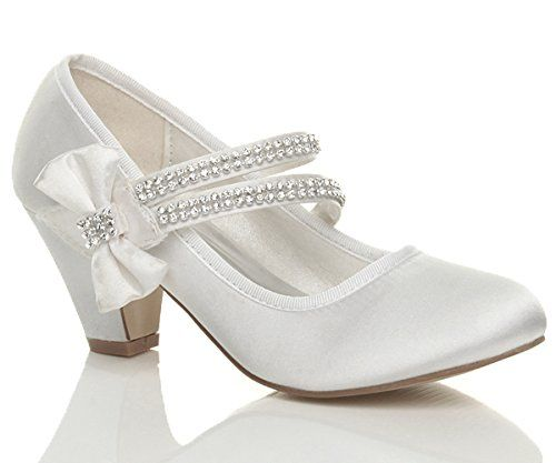 40940d620a8 GIRLS CHILDRENS LOW HEEL STRAP BRIDESMAID PARTY FORMAL EVENING SHOES SIZE 1  Ajvani http