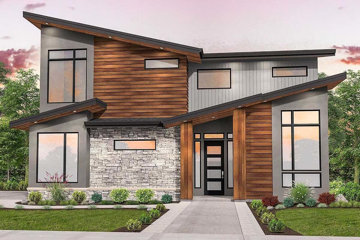 Plan 85205MS: Striking Curb Appeal for Modern House Plan ...