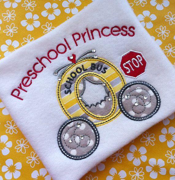 Back To School Preschool Princess Applique Design Machine Embroidery