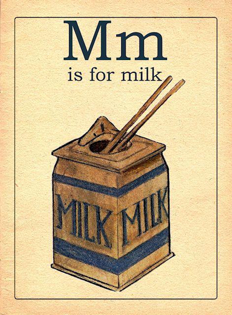 Vintage M Alphabet Card Printable