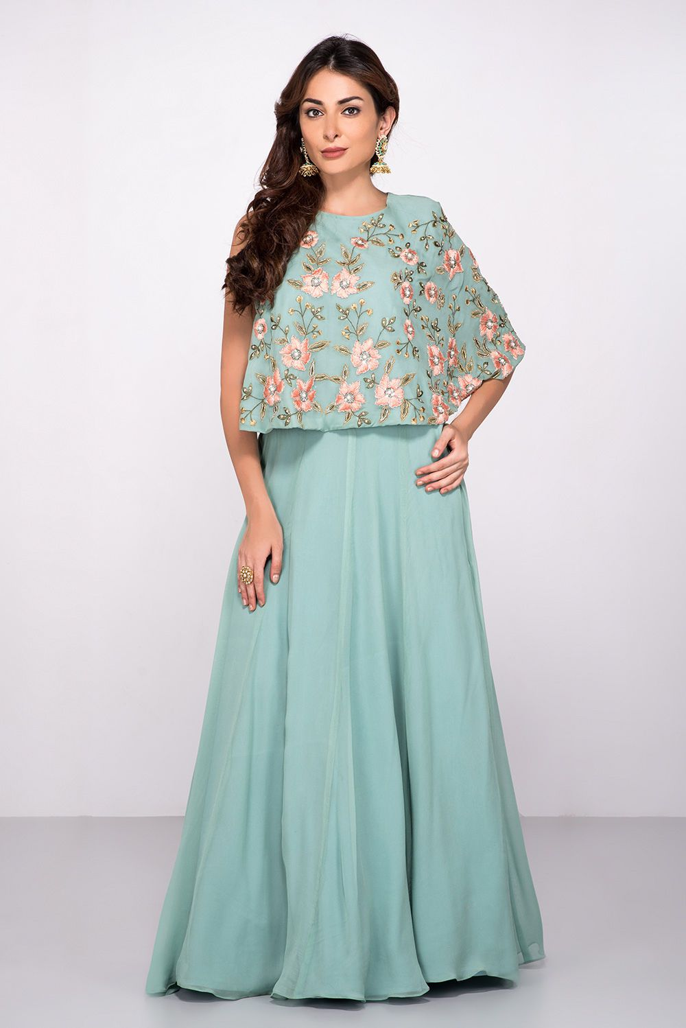 e5214160e8a06 Rent ABHILASHA - Blue Embroidered Crop Top With Skirt