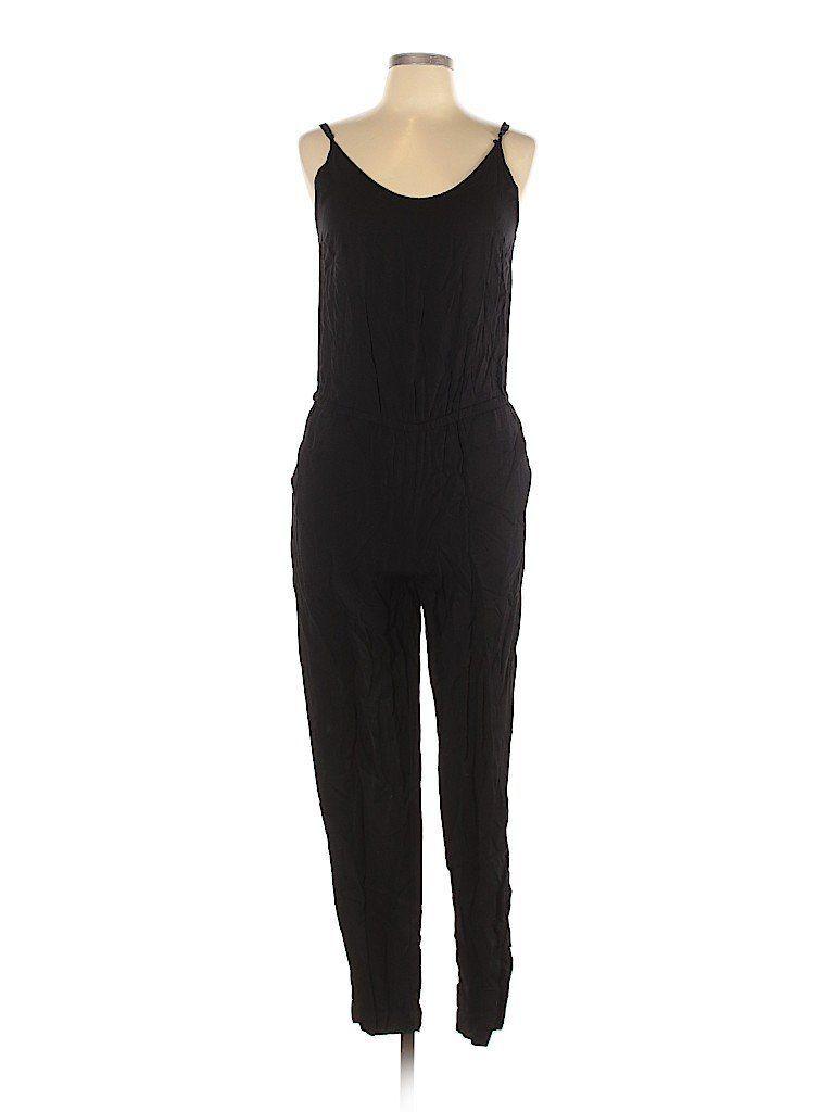 h&m jumpsuit: black solid jumpsuits - size 10 - h&m jumpsuit