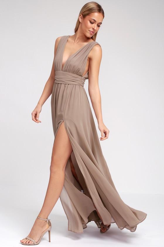 Heavenly Hues Taupe Maxi Dress Lulus Maxi Dress Maxi Gown Dress Maxi Dress