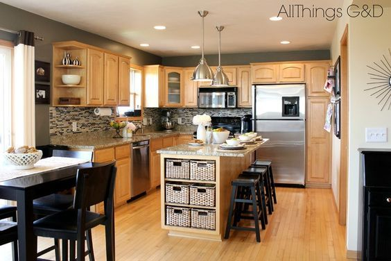 Gray Kitchen Walls With Maple Cabinets Going Gray Gray Kitchen Www Allthingsgd Com Maple Kitchen Cabinets Grey Kitchen Walls Kitchen Wall Colors