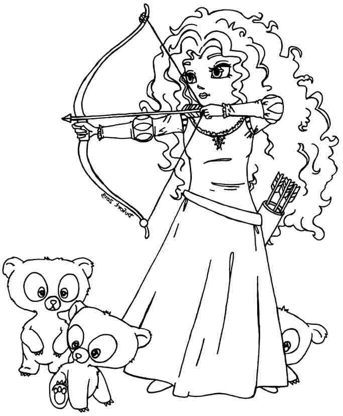 Printable Coloring Pages Disney Princess Merida Brave For Little ...