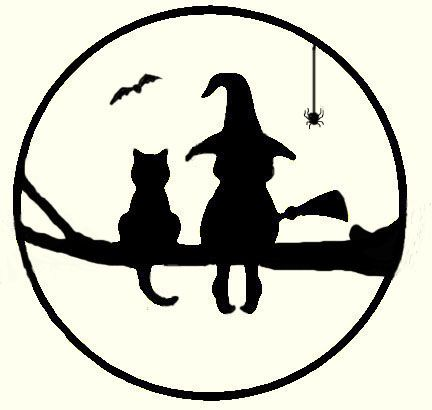 Witch and cat in tree for copper overlay on moon got the Cat pumpkin carving patterns