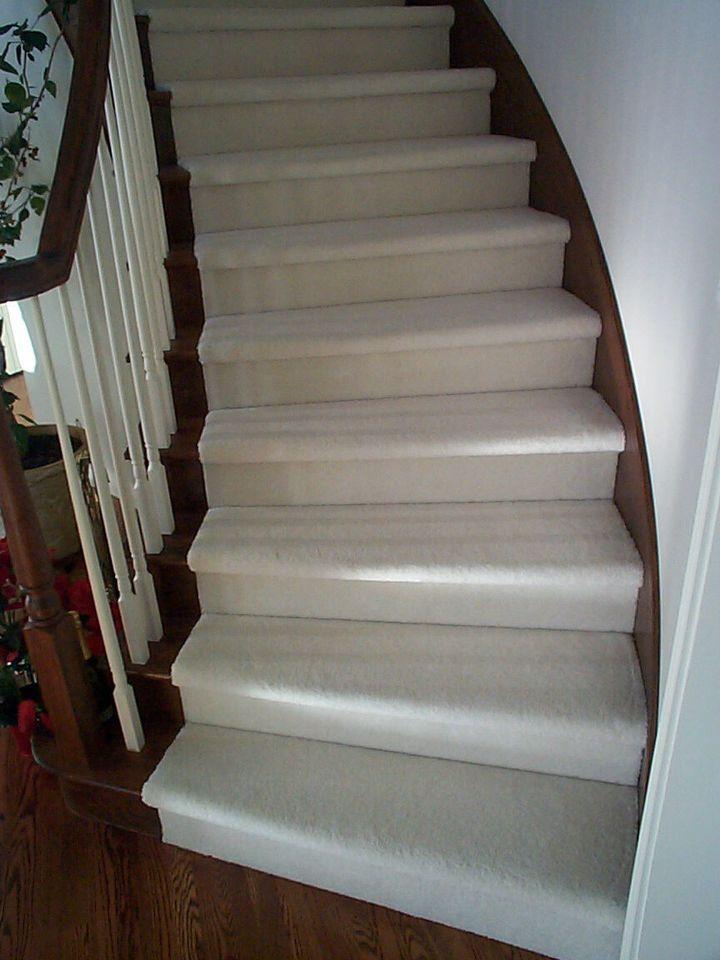 White Stair Carpet Oak Ends Floor Installation