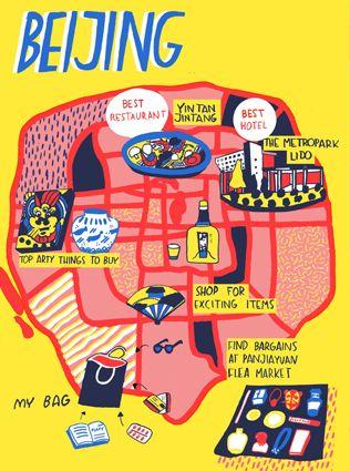 Map of Beijing for Virgin Australia inflight magazine - Cachete Jack