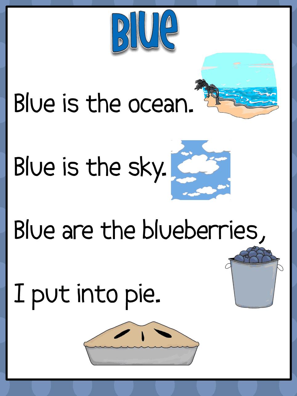 Colors preschool songs - Color Word Poems Pdf Color Poemcolor Songspreschool