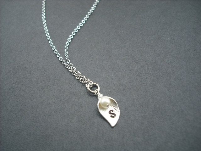 single personalized initial Calla Lilly necklace. $19.50, via Etsy.