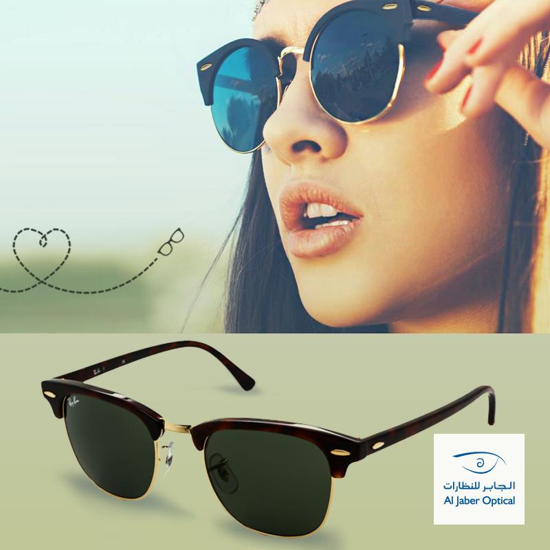 تمتعي بالأناقة الكلاسيكية المطع مة بلمسة عصرية مع نظارات راي بان كلوب ماستر الجابر للنظارات Rayban Sunglasses Aviators Sunglasses Women Summer Glasses
