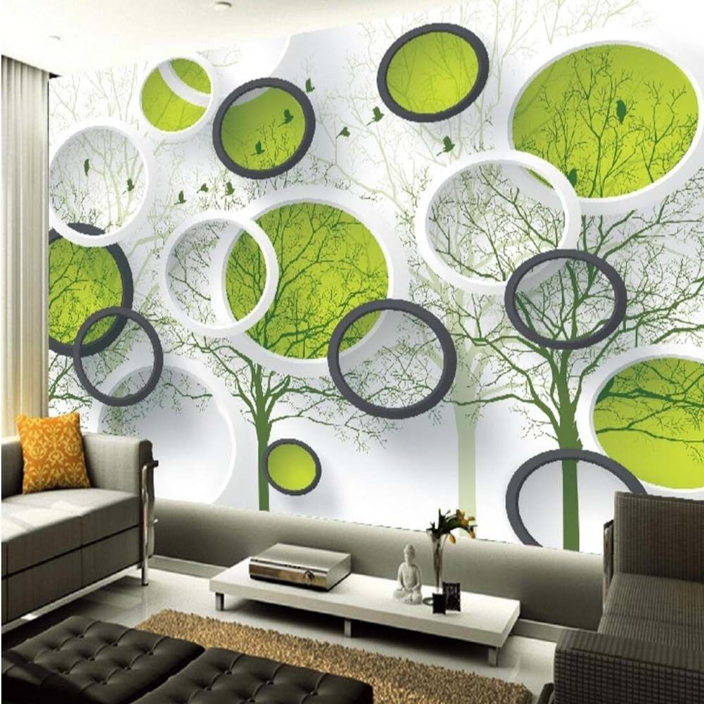 3d Abstract Circle Photo Wallpaper Mural For Living Room Tv Background Wall Art Home Decor Painting Pape Decor Accent Walls In Living Room Home Decor Paintings