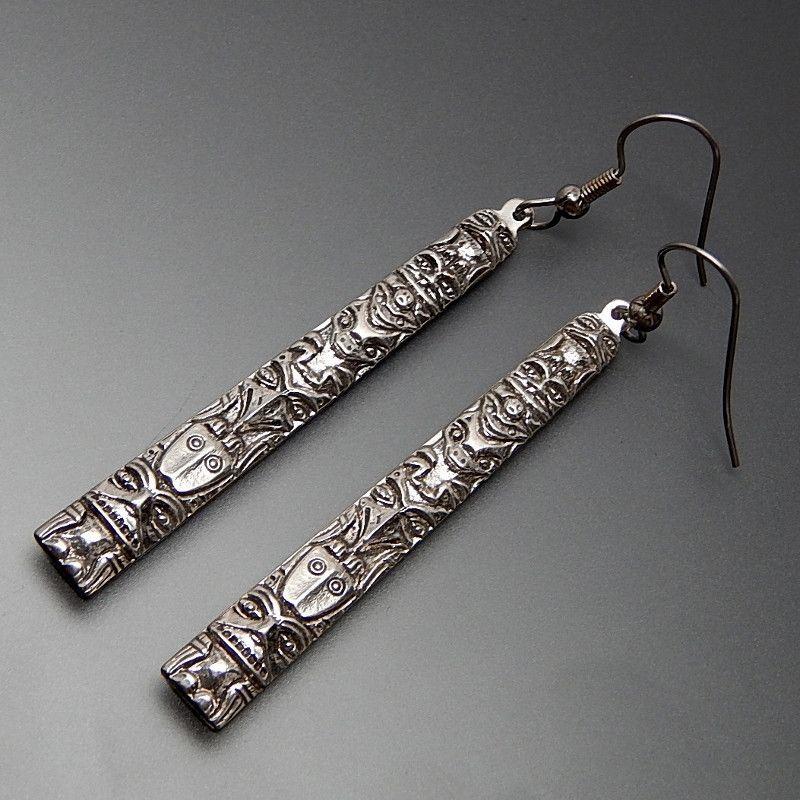 VINTAGE AZTEC MAYAN SYMBOLS STORY TELLER ELONGATED STERLING SILVER HOOK EARRINGS #silver-earrings #vintage-silver-earrings