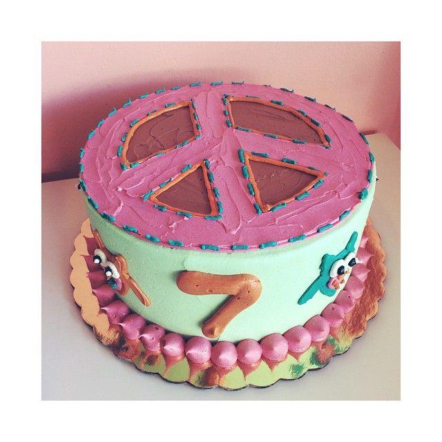 Owl and Peace Sign Birthday Cake by 2tarts Bakery / New Braunfels, Texas / www.2tarts.com