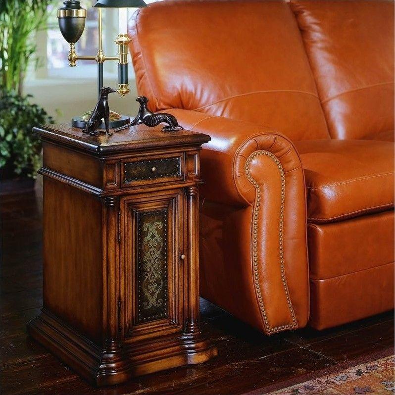Strange Hooker Furniture Seven Seas Leather Top Chairside End Table Spiritservingveterans Wood Chair Design Ideas Spiritservingveteransorg
