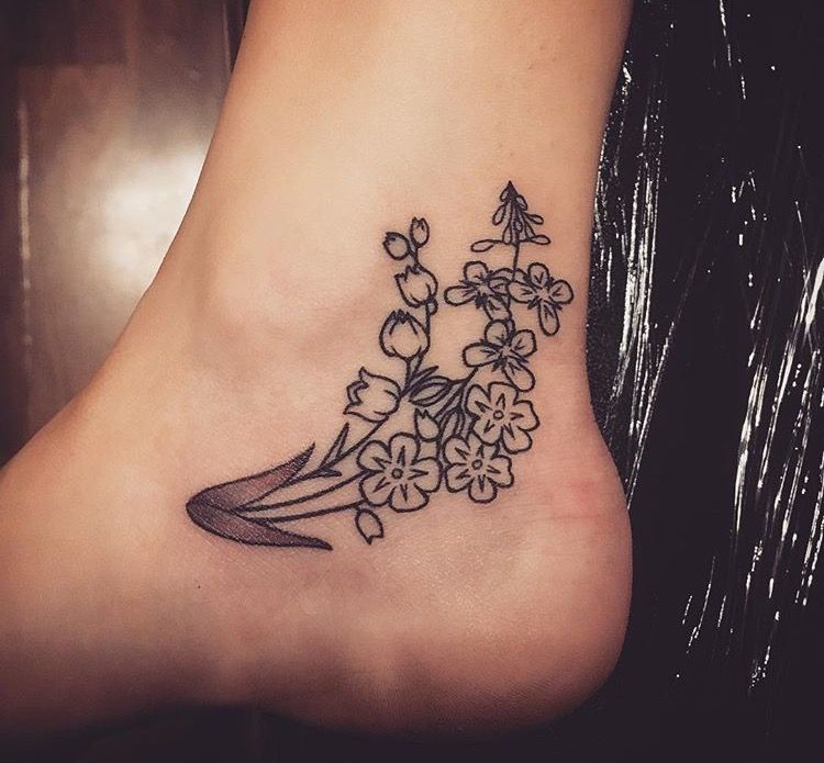 Floral ankle foot tattoo me nots Lily of the