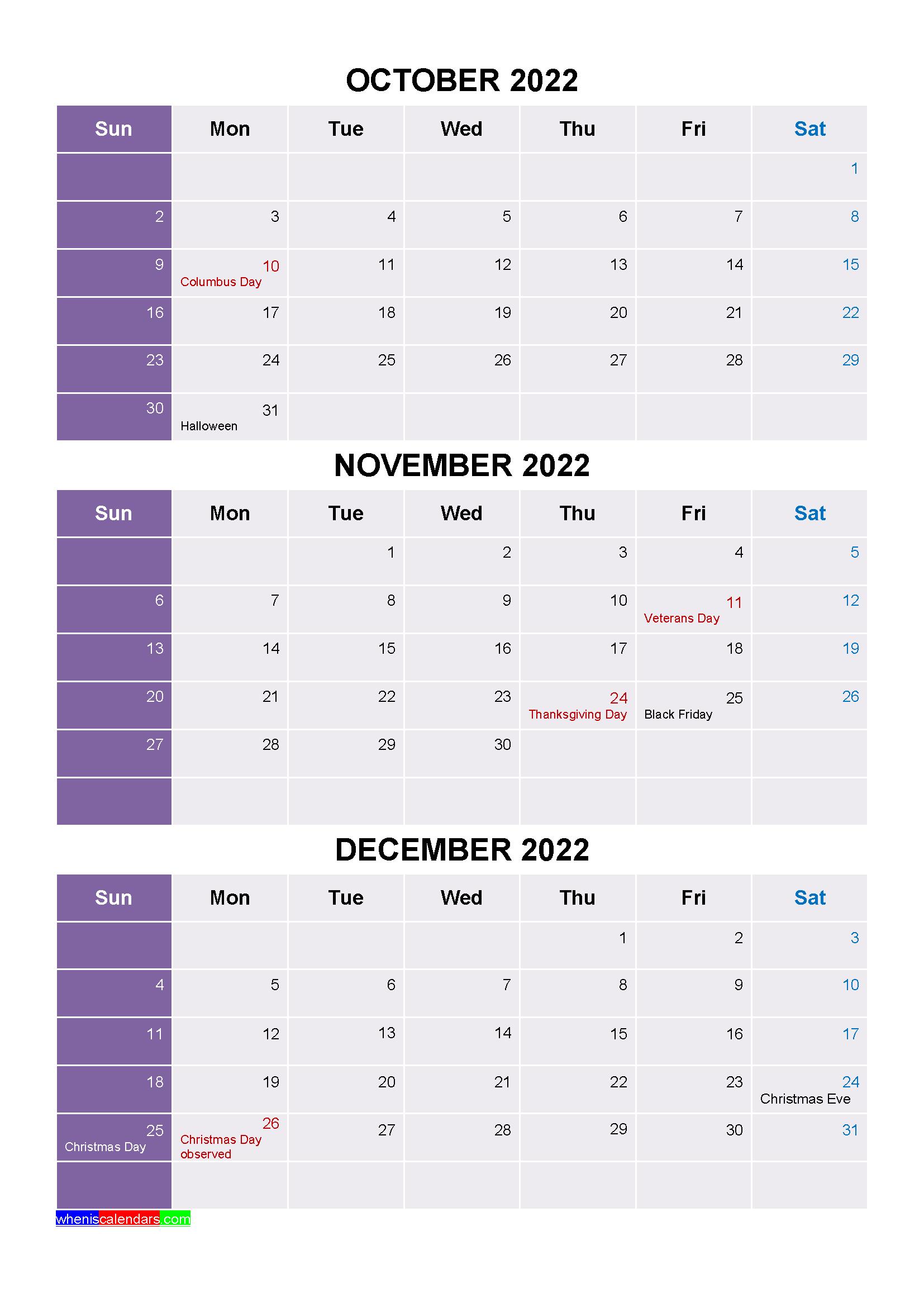 2022 Calendar October.Printable October November December 2022 Calendar With Holidays Four Quarters Printables Holiday Printables January February March