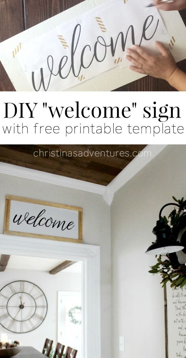 diy welcome sign free printable template and tutorials. Black Bedroom Furniture Sets. Home Design Ideas