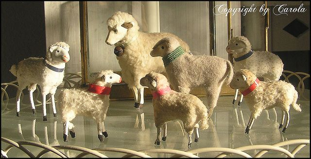 A grouping of little putz sheep ~ old ones from German flea markets and a new one from the Bethany Lowe collection,