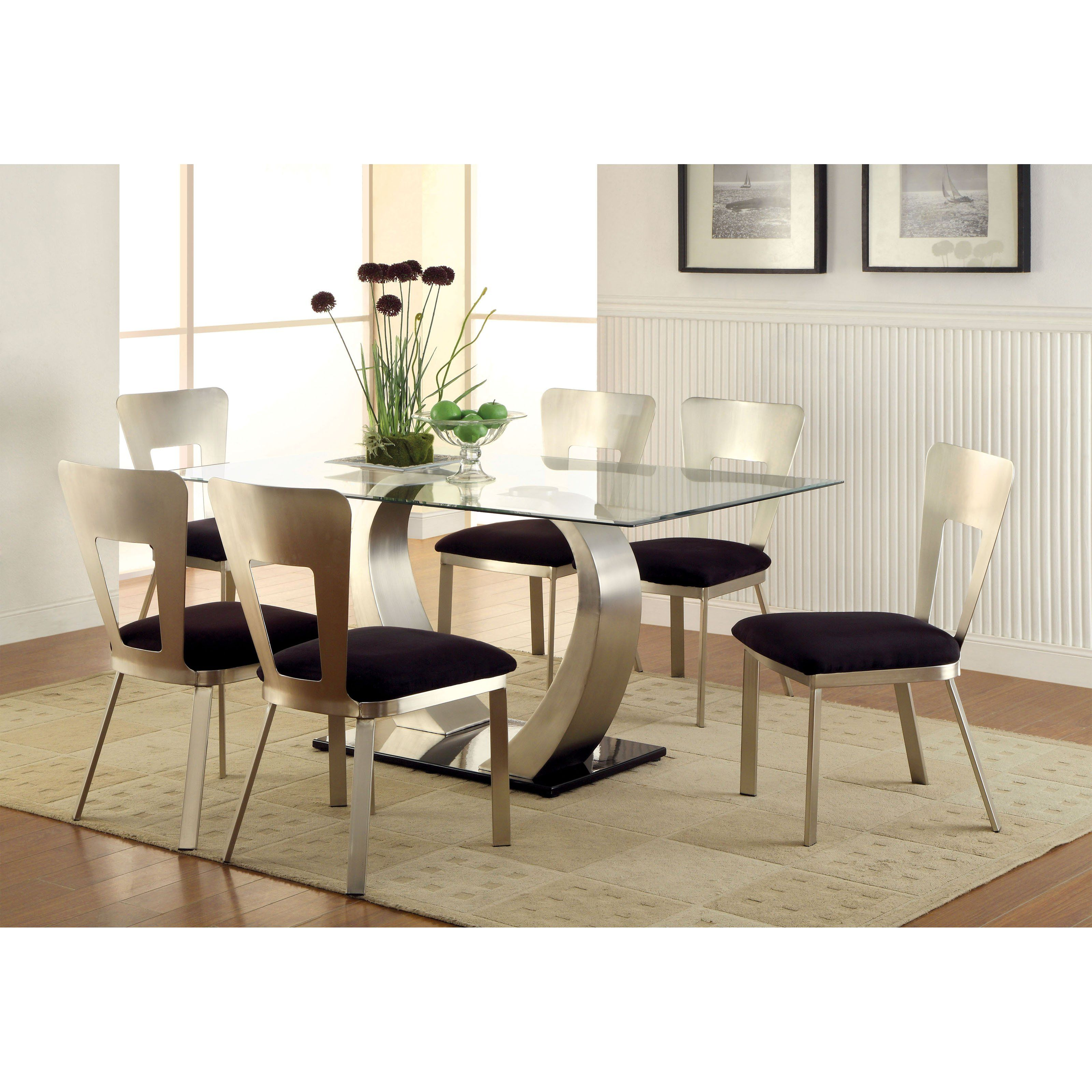 Furniture Of America Vansant 7 Piece Dining Table Set With Open Back Chairs  | From Hayneedle. Glass Top ...