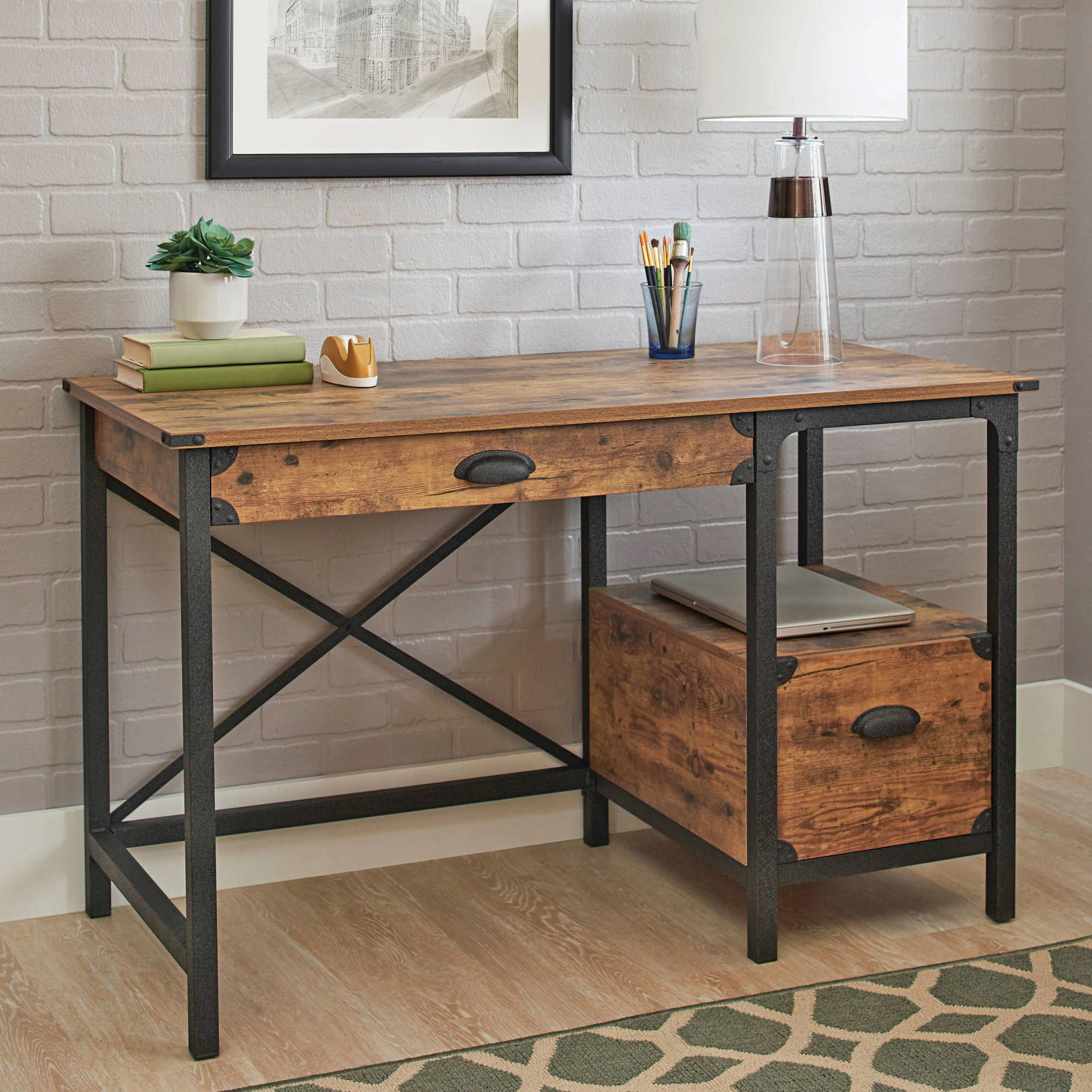 better homes and gardens rustic country desk, weathered pine