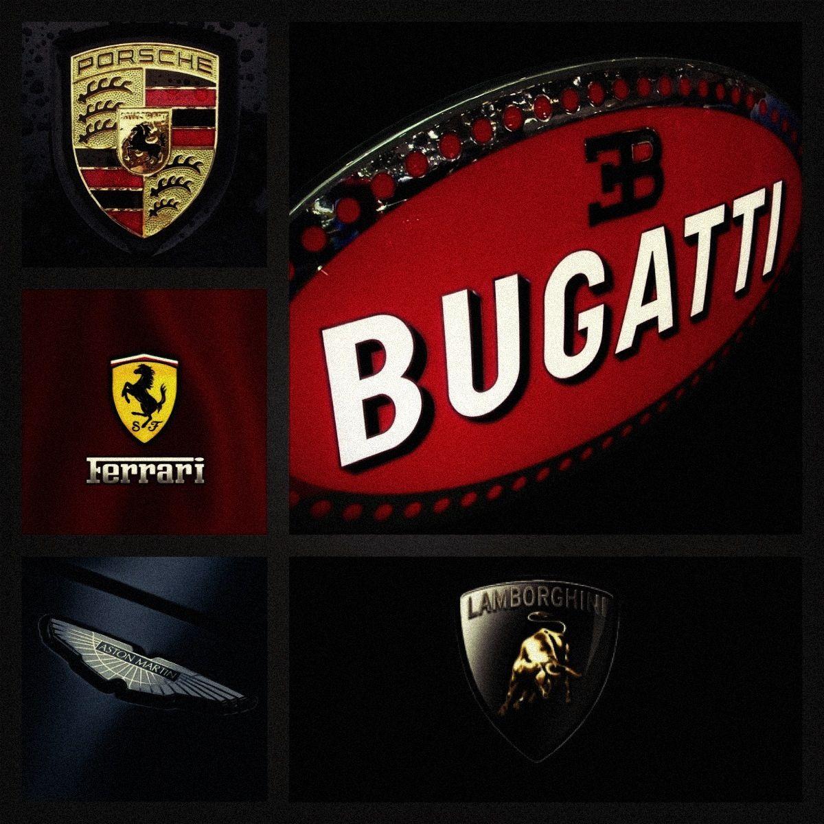Bugatti Lamborghini Porsche Ferrari Aston Martin Logos
