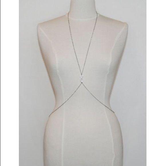 Body Chain With Rhinestone Infinity Brand new, never worn. Silver tone body chain. Infinity image with rhinestones. Jewelry Necklaces
