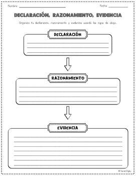 Spanish Claim, Reason, and Evidence Graphic Organizer | Graphic ...
