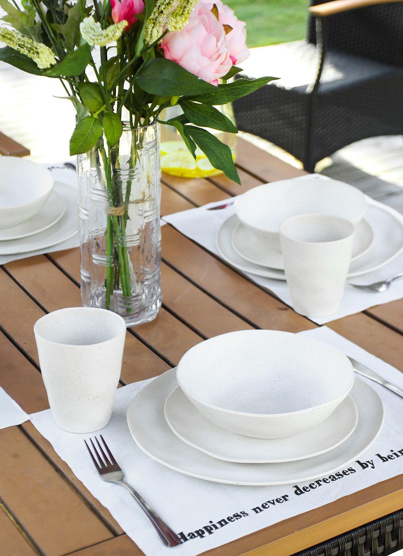 Morgiana White Bamboo Plates Reusable Eco Friendly Dinnerware Picnic Dinner Set In 2020 Bamboo Tableware Dinnerware White Dinnerware Set