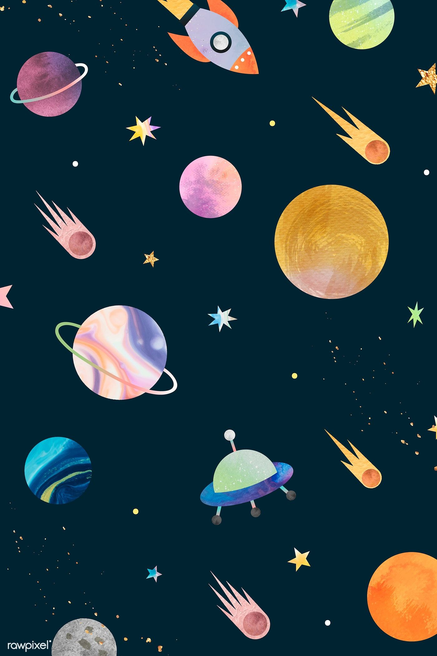 Download Premium Image Of Colorful Galaxy Watercolor Doodle On