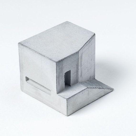 Grey Concrete House 3 Architectural Model Concrete Architect Etsy Architecture Model Concrete House Concrete Architecture
