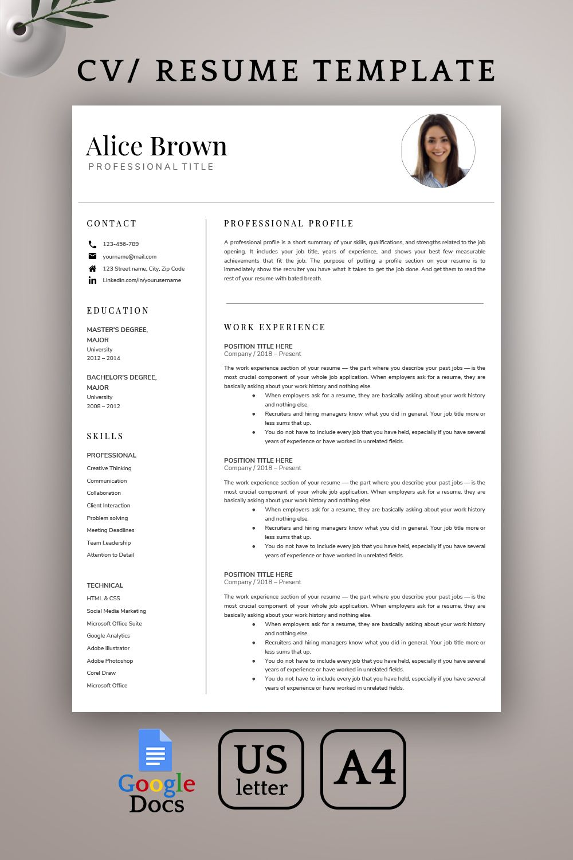 Google Docs Resume Template Modern Resume Template 1 2 Page Professional Resume Template Cv Template Creative Resume Instant Download Resume Template Resume Template Word Student Resume Template