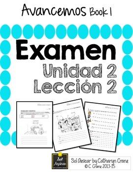 Avancemos 1 Unit 2 Lesson 2 - EXAM - EXAMEN   Products in