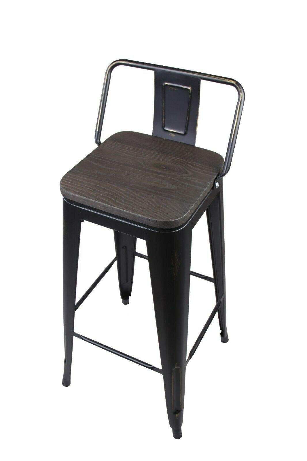 Details About Industrial Style 24 Low Back Black Metal Bar Stool
