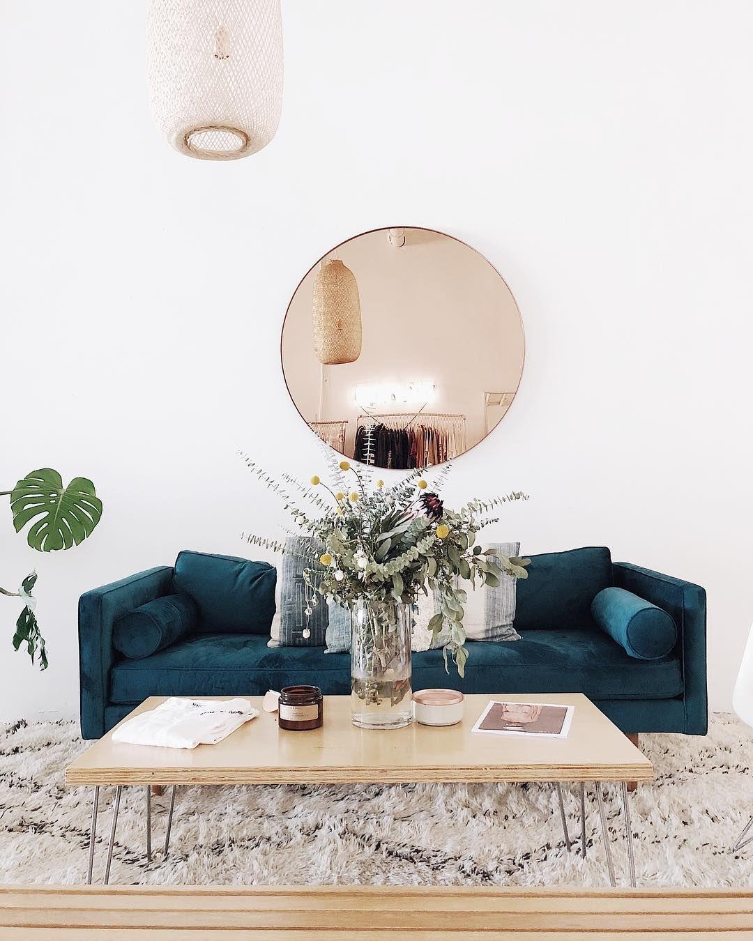 Livingroom Sofa Velvet Blue Mirror Round Rug | Livingroom ...