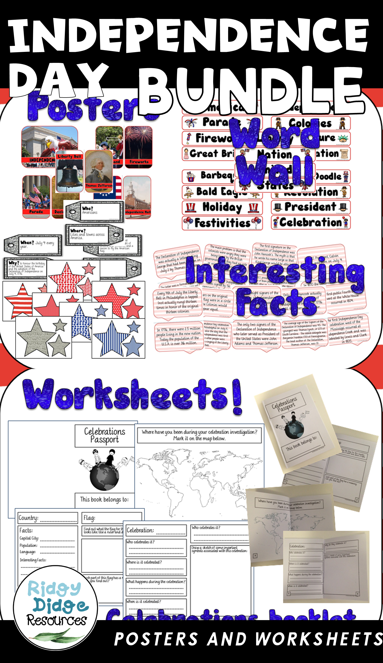 Independence Day Posters Word Wall And Student Workbook