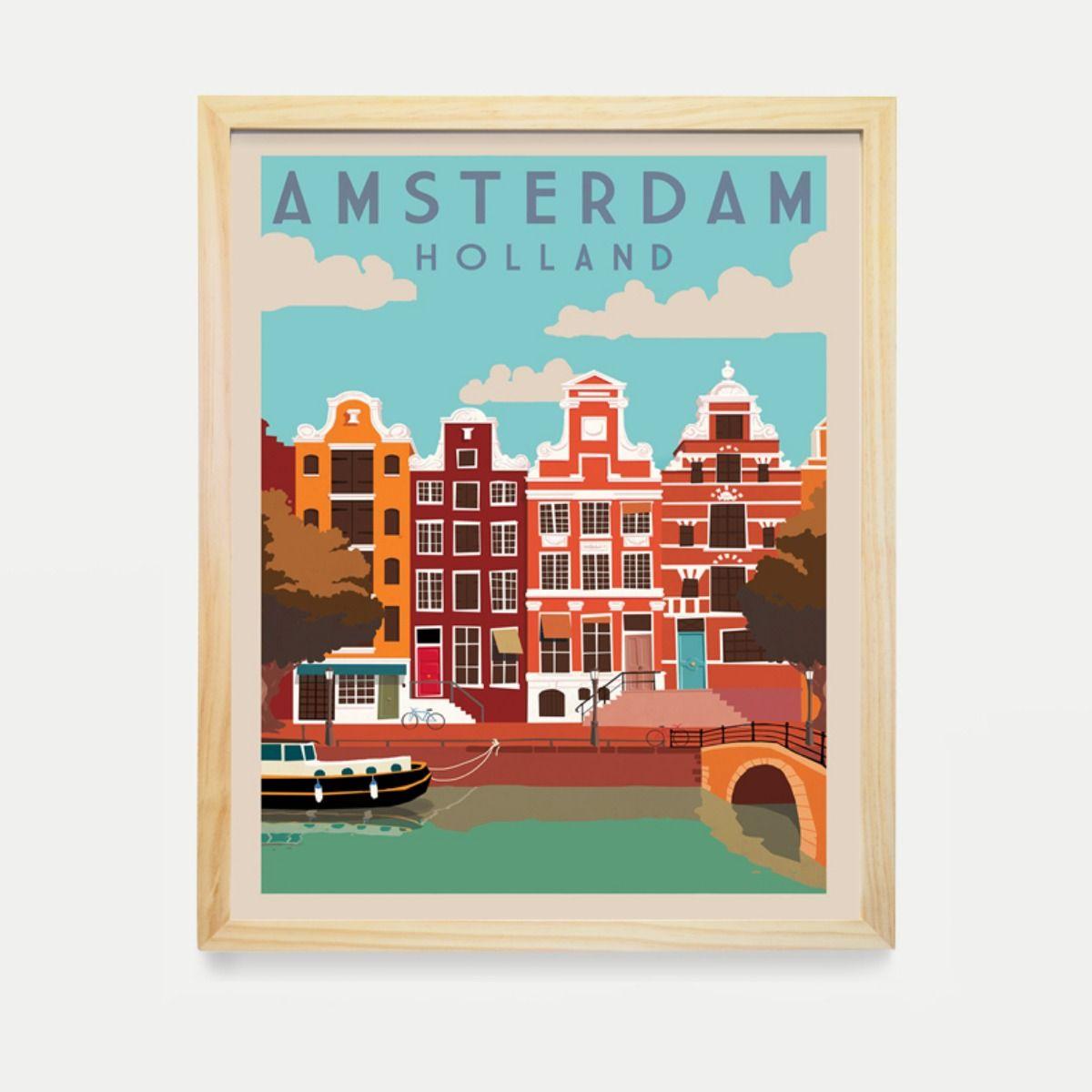 Vintage Travel Poster Holland Amsterdam Poster Canvas Framed