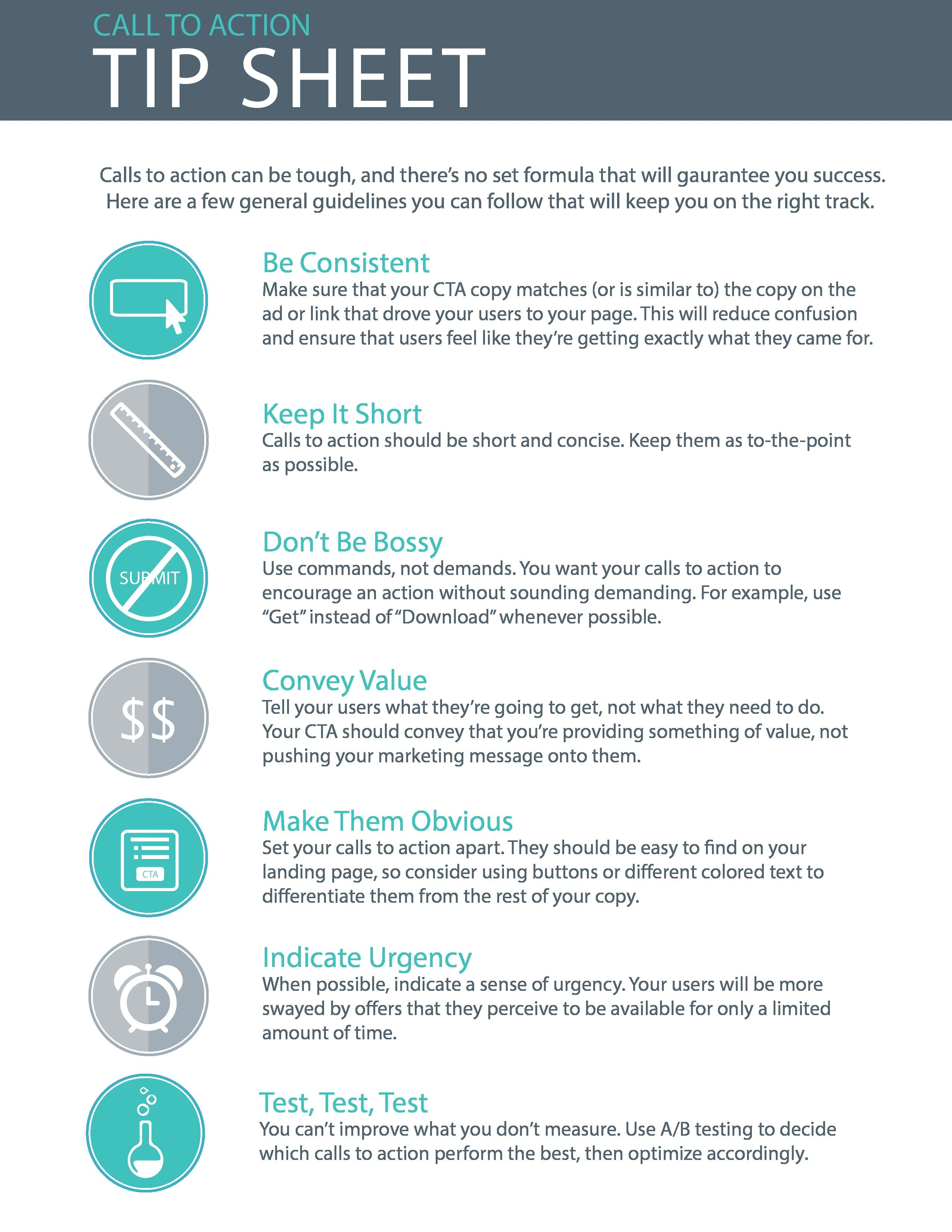 7 Tips For That Perfect Call To Action Tip Sheet