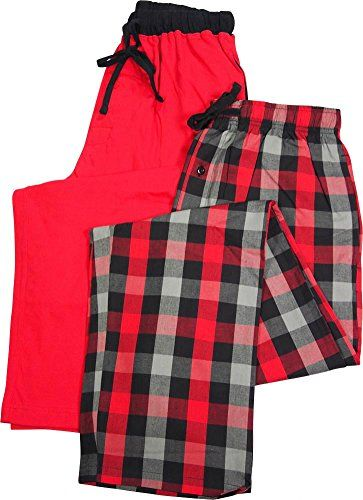 a1ec6b6e8d8 funny christmas pants - Hanes - Mens 2 Pack Woven Plaid and Solid Knit  Lounge Pants